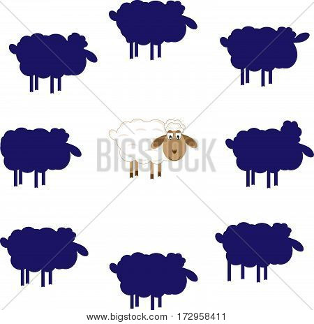 entertaining game find the same shade of lamb vector illustration