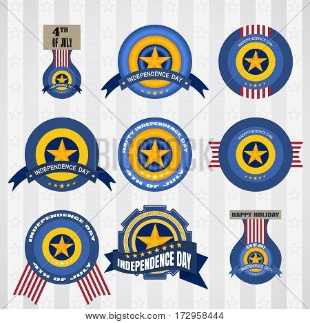 Vector labels of 4th of July Independence day greeting. Fourth of July vector set of badges. Independence Day vector set of labels.