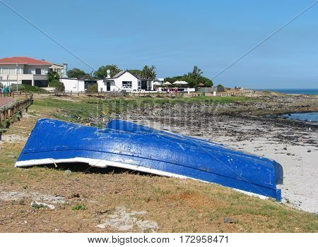 BLU BOATS ON BEACH, CAPE TOWN SOUTH AFRICA 12ases