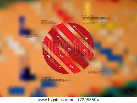 Illustration infographic template with motif of circle askew divided to five red standalone sections. Blurred photo with ludo board motif is used as background.