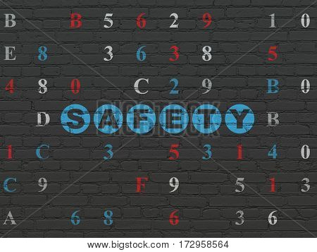 Privacy concept: Painted blue text Safety on Black Brick wall background with Hexadecimal Code