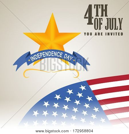 Vector illustration of Independence Day with star. Happy 4th of July Independence Day. Vector illustration of Independence Day.