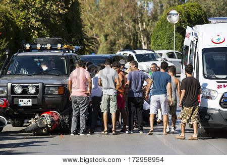 TURKEY. SIDE - 1 OCTOBER 2016:Car accident on a road bike and jeep: OCTOBER 1, 2016 in Turkey. Side