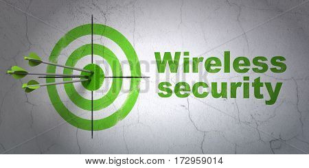 Success security concept: arrows hitting the center of target, Green Wireless Security on wall background, 3D rendering