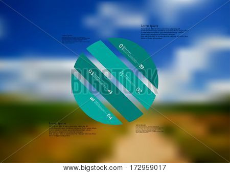 Illustration infographic template with motif of circle askew divided to four green standalone sections. Blurred photo with natural motif of landscape with cloudy sky is used as background.