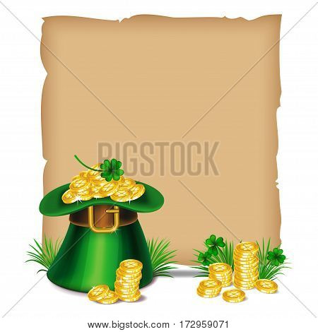 St.Patrick's Day. Old paper and leprechaun hat with golden coins and green ribbon. Vector illustration