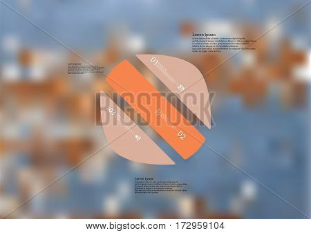 Illustration infographic template with motif of circle askew divided to three orange standalone sections. Blurred photo with texture motif of worn wooden surface is used as background.