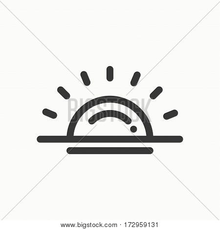 Sun line simple icon. Weather symbols. Sunrise, sunset. Forecast design element. Template for mobile app, web and widgets.Vector style linear icon. Illustration. Flat sunlight, sign. Logo