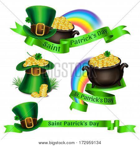Set of St.Patrick's Day logos. Emblems and symbols for Saint Patrick's Day design. Vector illustration