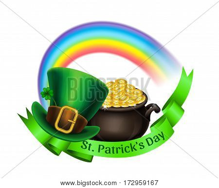 St.Patrick's Day logo. Pot Of Gold rainbow and green leprechaun hat with ribbon. Vector illustration.