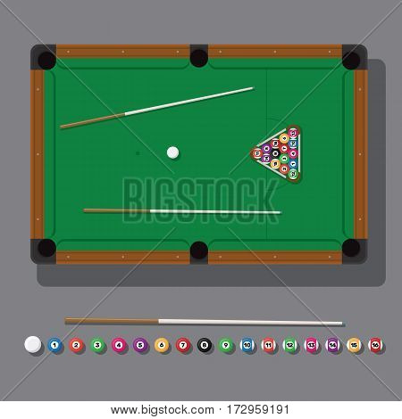 vector illustration of a billiard table with green cloth, balls and cue top view.
