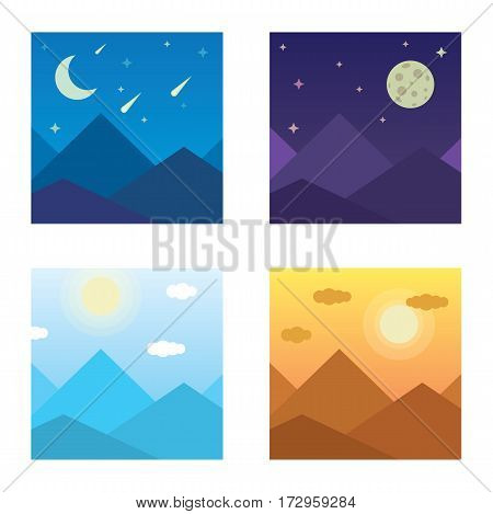 vector illustration of a mountain landscape in the morning, evening, mountains, mountain, night, mountains in the afternoon.