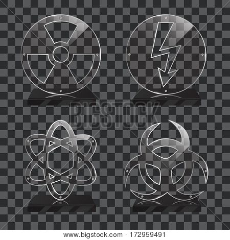 Set of realistic transparent glass trophy awards standing on black base and isolated on gradient background. Different shapes provided. Radiation, biohazard, atom, electricity. Vector illustration.