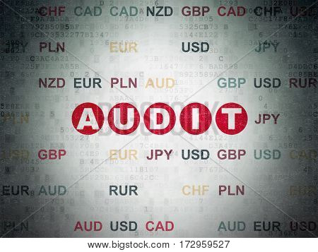 Finance concept: Painted red text Audit on Digital Data Paper background with Currency