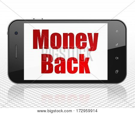 Business concept: Smartphone with red text Money Back on display, 3D rendering