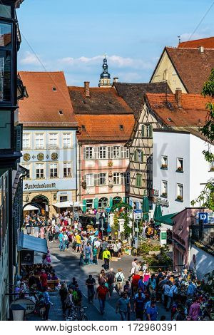 BAMBERG, GERMANY - Circa September, 2016: Pedestrian zone in historic medieval city of Bamberg, Germany, a UNESCO world heritage site