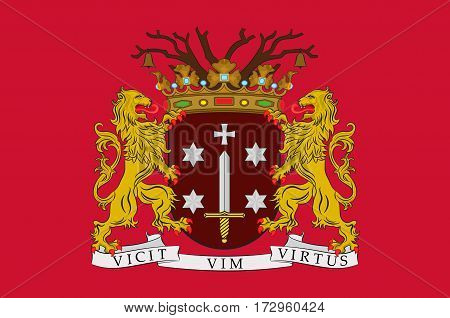 Flag of Haarlem is a city and municipality in the Netherlands. Vector illustration