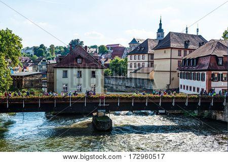 BAMBERG, GERMANY - Circa September, 2016: River Regnitz in historic medieval city of Bamberg, Germany