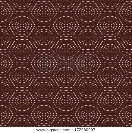 Geometric repeating ornament with hexagonal dotted elements. Seamless abstract modern pattern. Brown and golden pattern