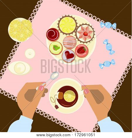 Person is eating, top view. Menu for tea time, breakfast, lunch or dinner. Vector illustration eps 10