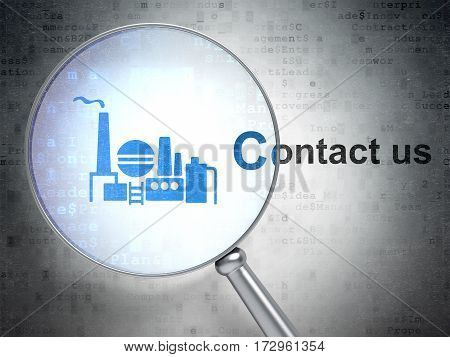 Finance concept: magnifying optical glass with Oil And Gas Indusry icon and Contact us word on digital background, 3D rendering