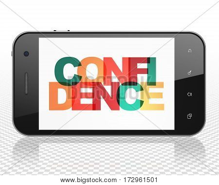 Finance concept: Smartphone with Painted multicolor text Confidence on display, 3D rendering