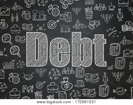 Finance concept: Chalk White text Debt on School board background with  Hand Drawn Business Icons, School Board