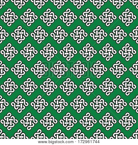 Celtic style endless knot symbol seamless pattern In white with black stroke on green background inspired by Irish St Patrick's Day,  Irish and Scottish Culture
