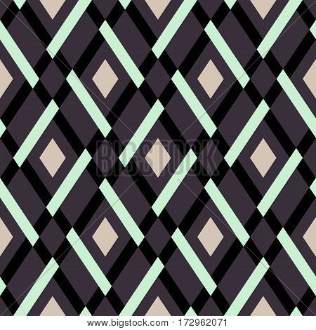 Vector geometric seamless argyle pattern with lines and tiles in dark color with mint green detail Modern bold print with diamond shape for fall winter fashion. Vintage plaid background in retro style