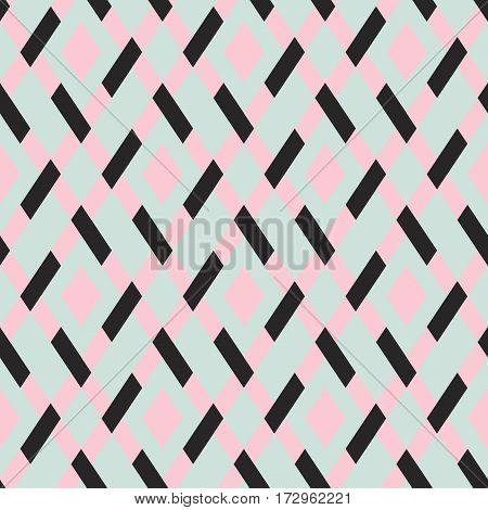 Vector geometric seamless argyle pattern with lines and tiles in monochrome grey pink color. Modern bold print with diamond shape for fall winter fashion. Vintage plaid background in retro style