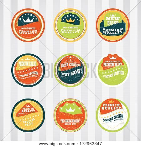 Vintage labels for commerce and premium trade with stitching vector set in pockets. Retro badges vector set for internet commerce with stitching in pockets. Vector set of labels for promotion premium goods.