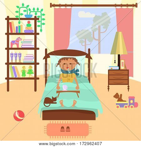 Sick child girl lying in bed with a thermometer in mouth in bedroom in cartoon style, vector illustration eps 10.