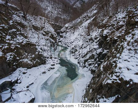 Frozen Mountain River In Granite Gorge.