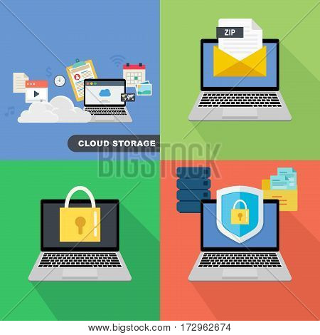 Mega collection of flat web infographic concepts and banners, various universal set. Laptop with protection shield and closed lock.