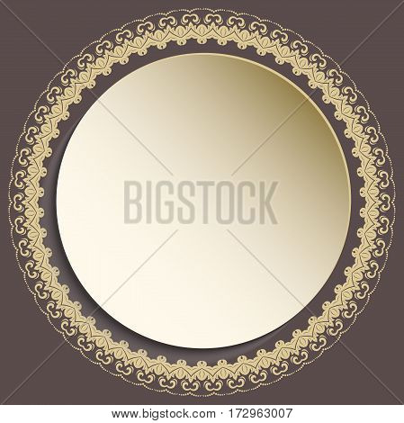 Nice round frame with floral elements and arabesques. Brown and golden greeting card