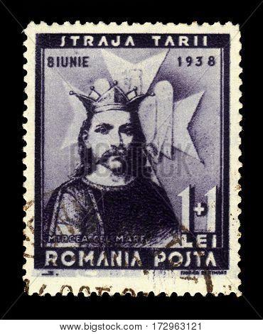 ROMANIA - CIRCA 1938: A stamp printed in Romania shows Mircea the Great, Prince of Wallachia (Mircea the Elder), Voivode of Wallachia, circa 1938