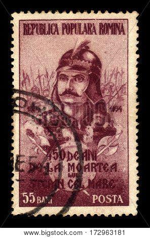ROMANIA - CIRCA 1954: A stamp printed in Romania shows Sthephen III the Great (1433-1504), romanian national hero, circa 1954