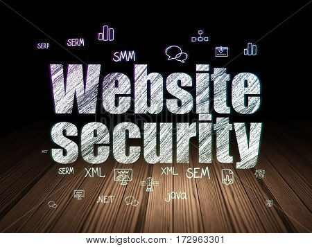 Web development concept: Glowing text Website Security,  Hand Drawn Site Development Icons in grunge dark room with Wooden Floor, black background