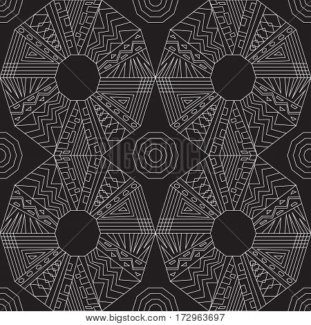 seamless traditional geometric pattern. black and white. vector illustration.