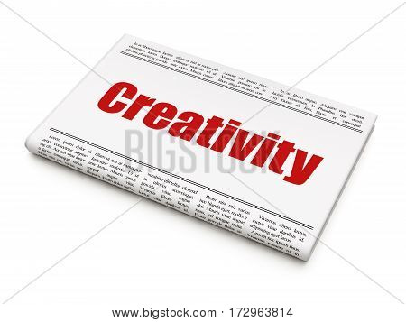 Marketing concept: newspaper headline Creativity on White background, 3D rendering