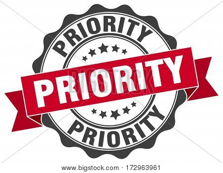 priority. stamp. sign. seal. round. retro. ribbon
