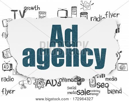 Advertising concept: Painted blue text Ad Agency on Torn Paper background with  Hand Drawn Marketing Icons