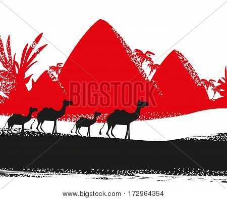 Camel caravan in wild africa , vector illustration
