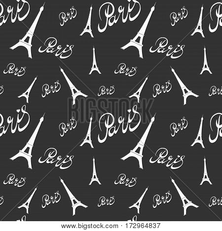 Seamless pattern Eiffel Tower with hearts.Hand drawing . Seamless pattern can be used for wallpaper, pattern fills, web page backgrounds, surface textures.