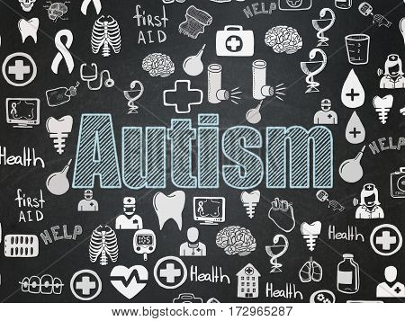 Health concept: Chalk Blue text Autism on School board background with  Hand Drawn Medicine Icons, School Board