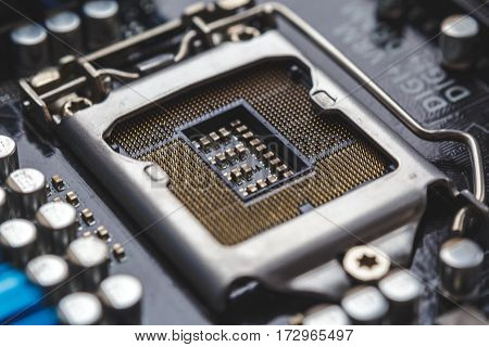 Socket for processor or cpu, macro photo. Electronic computer hardware technology. Motherboard digital chip. Tech science background.