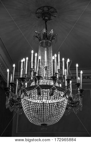 ancient Murano glass crystal chandelier in black and white