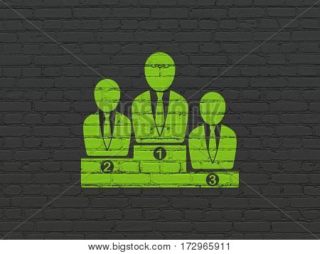 News concept: Painted green Business Team icon on Black Brick wall background