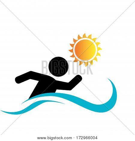 swiming athlete silhouette icon vector illustration design