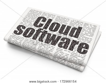 Cloud networking concept: Pixelated black text Cloud Software on Newspaper background, 3D rendering